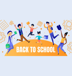 Back to school banner with happy people characters vector