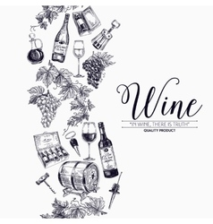 Background with hand drawn wine drawings vector