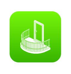 Balcony door icon green vector