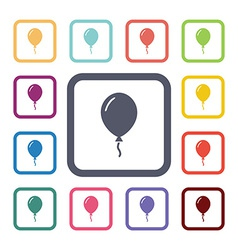Balloon flat icons set vector
