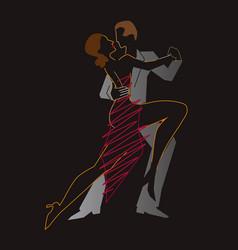 ballroom dancers temperament tango vector image