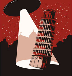 Banner with a flying ufo above leaning tower vector