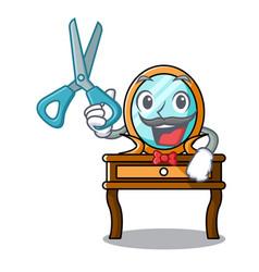 Barber dressing table character cartoon vector