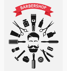 barbershop tools around male face vector image