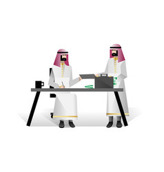 Bearded arabic businessmen conclude a contract vector
