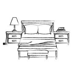 bedroom with nightstand blurred silhouette on vector image