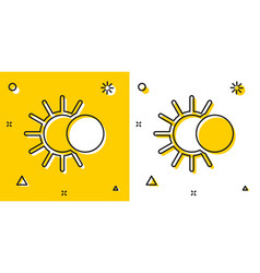 Black eclipse sun icon isolated on yellow vector