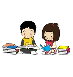 Boy and girl read a book vector