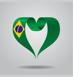 Brazilian flag heart-shaped ribbon vector