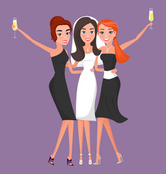 Bride with bridesmaids celebrating wedding vector