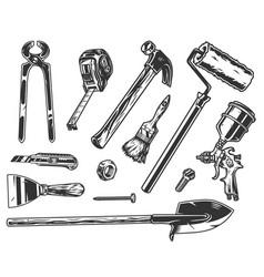 Builder tools vintage monochrome set vector