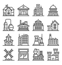 building icons set goverment industrial and live vector image