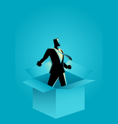 businessman comes out of the box vector image