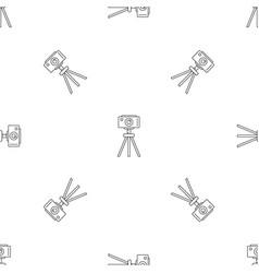 camera on tripod pattern seamless vector image