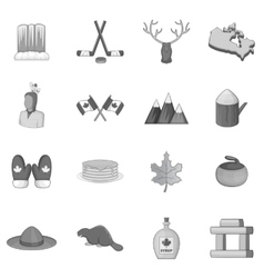 Canada icons set monochrome style vector