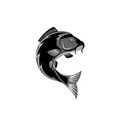 Carp logo creative pond fish template logo round vector