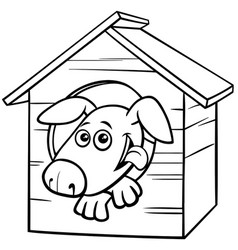 Cartoon dog character in doghouse color book page vector
