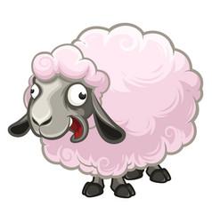 cartoon furry crazy little sheep screaming fun vector image