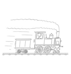 Cartoon man or engineer driving steam train vector