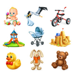 Children playground kids and toys 3d icons set vector