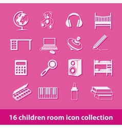 children room icons vector image vector image