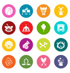 Circus icons set colorful circles vector