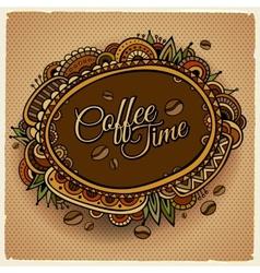 Coffee time decorative border label design vector image