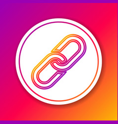 Color chain link line icon isolated on color vector