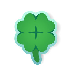 Colorful green clover sticker vector