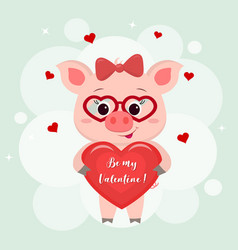 congratulations on valentine s day a cute pig vector image