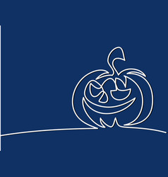 continuous line drawing of halloween pumpkin vector image
