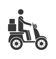 Courier motorcycle box icon vector