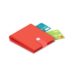 Credit cards in purse isometric 3d icon vector