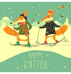 Cute foxes skiing on piste vector