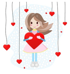 Cute girl with big heart vector image
