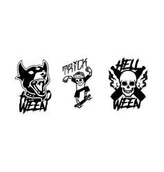 Dog and skull halloween template set vector