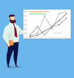 Employee male presenting graph best service vector