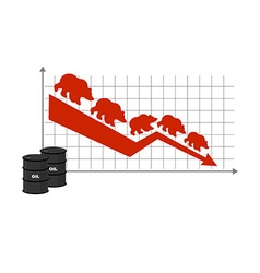 Fall of oil Oil quotations Barrel of oil Red down vector