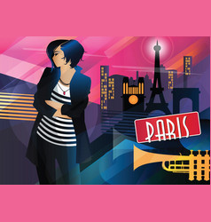 Fashion woman in style pop art in paris vector