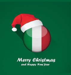 flag of italy merry christmas and happy new year vector image