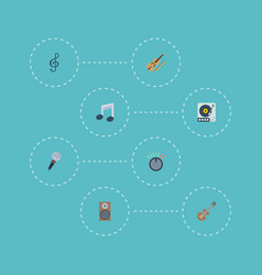 Flat icons tone symbol turntable fiddle and vector
