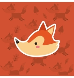 Fox with pattern background image vector