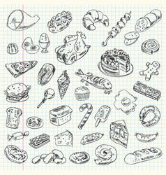 Freehand drawing high-calorie food vector