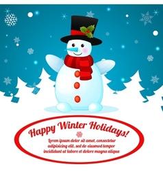 Funny Cartoon Snowman on Christmas Background vector image