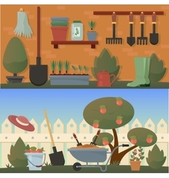 Garden and agricultural accessories or tools vector
