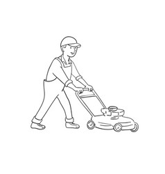 gardener mowing lawn with lawnmower side view vector image