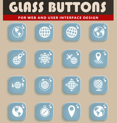 globes icon set vector image