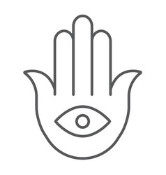 hamsa thin line icon luck and talisman hand sign vector image