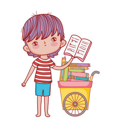 happy little boy with cart of books vector image