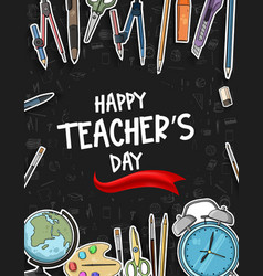 Happy teacher day with red ribbon school vector